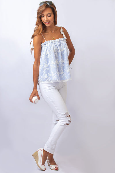Blue Striped Top with Floral Lace Overlay