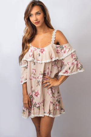 Tan Floral Cold Shoulder Dress