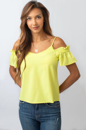 Yellow Cold Shoulder Blouse