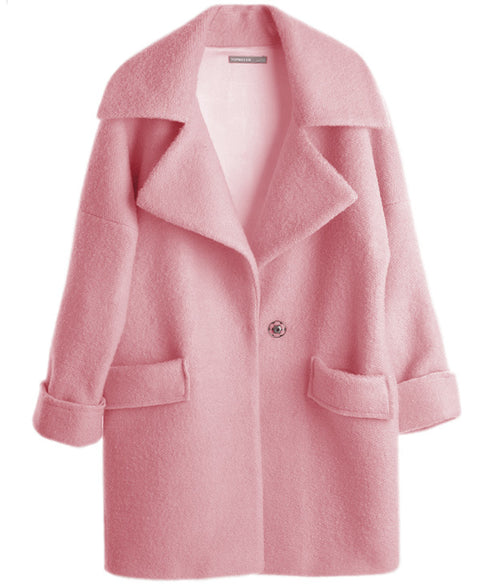 UK New Casual 2017 Spring Winter Woolen Pink coat Women Single button Simple Jacket Overcoat casaco feminino Female Cloth - ChicPorter.Com