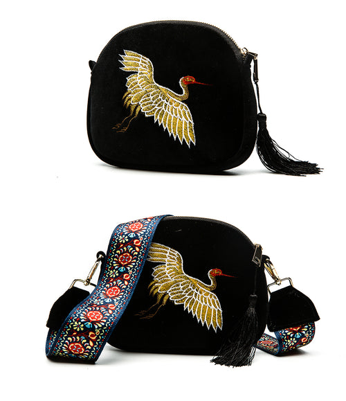Herald Fashion Mini Velvet Embroidery Crane Shell Bag Wild Strap Fashion Shoulder Bags Designer Tassel Vintage Crossbody Bag - ChicPorter.Com