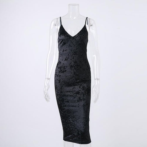 Strap Velvet Dress - ChicPorter.Com