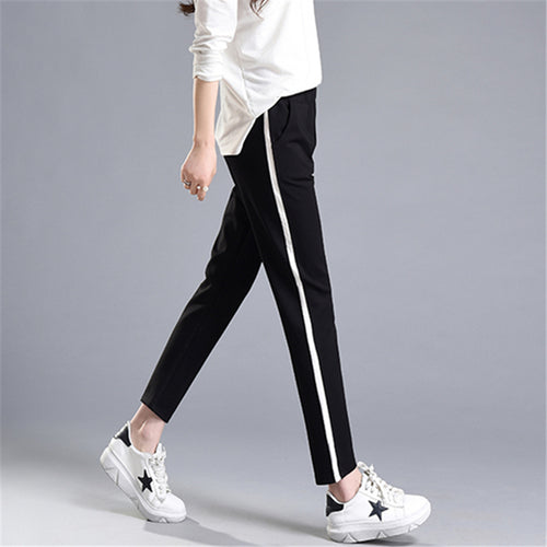 Summer New Fashion Casual Pants Female White Striped Patchwork Slim Skinny Harem Pants Women Loose Soft Black Pantalon Femme 2XL - ChicPorter.Com