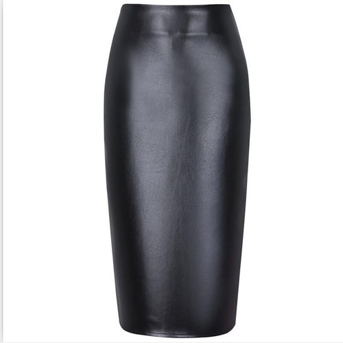Neophil 2017 Ladies Sexy Pink Faux Leather Midi Pencil Skirts High Waist Summer Elastic Bodycon Slim Office Short Saias S0323 - ChicPorter.Com