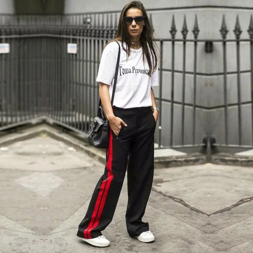 A Forever 2017 Women Long Pant Casual Style Side Belt Red Striped Stitching Wide Leg Pants Black Casual Loose Trousers M-356 - ChicPorter.Com