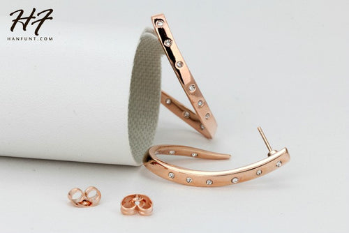Stud Rose Gold Earrings - ChicPorter.Com