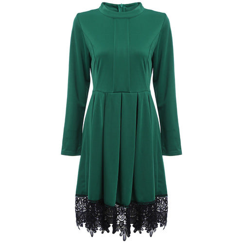 Long Sleeve Dress with Lace - ChicPorter.Com