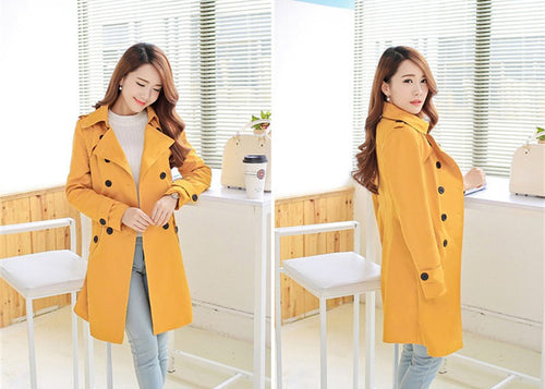 Plus Size Women Clothing Spring Autumn Double Breasted Md-long Coat 2017 New Fashion Belt rench coat for women Outwears trench - ChicPorter.Com