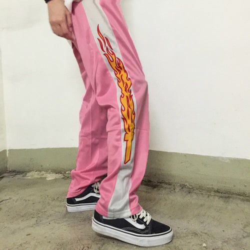 NYOOLO Korea design hot sale novelty flame Print Harajuku loose casual Straight pants women and men elastic waist hip hop pants - ChicPorter.Com