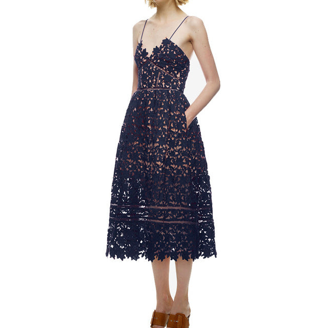 Strap Lace Midi Dress - ChicPorter.Com