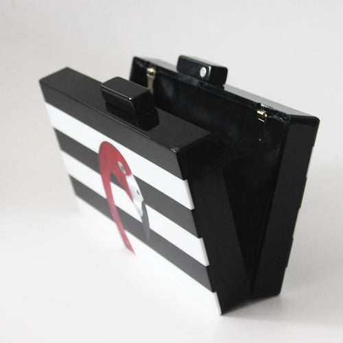 Striped Acrylic Flamingo Clutch - ChicPorter.Com