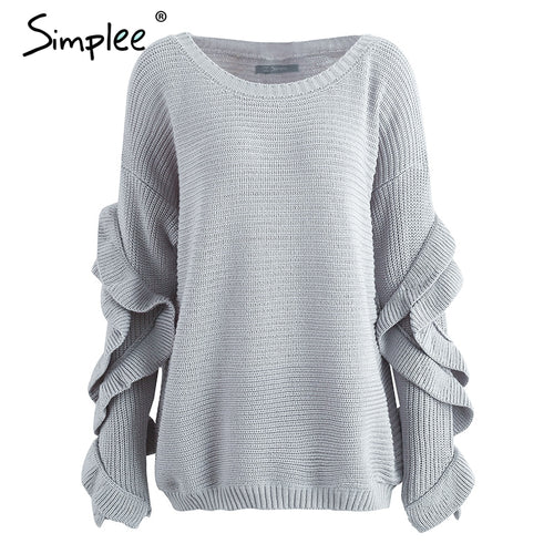 Simplee Ruffle knitted sweater women pullover female Casual loose round neck winter sweater Autumn pull femme knit jumper - ChicPorter.Com