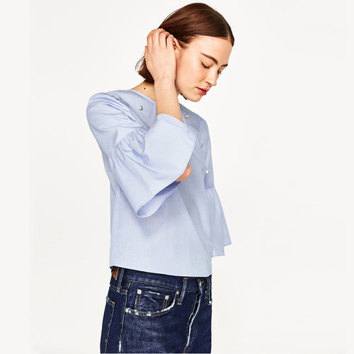 Flare Sleeve Blouse with Pearls - ChicPorter.Com