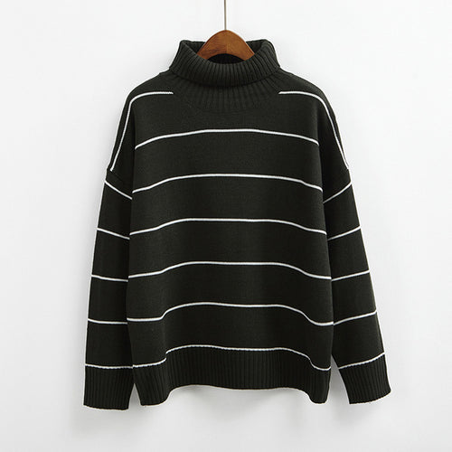 NIJIUDING 2017 New Arrival Women Casual Pullovers Sweaters Knitted Sweater Autumn Loose Striped Turtleneck Sweaters 6 Colors - ChicPorter.Com