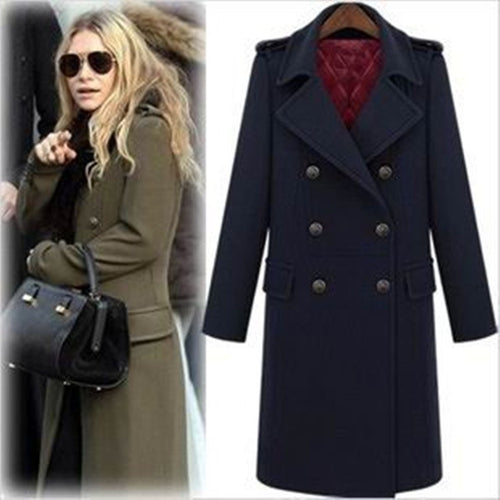 Winter Fashion Military Style Double Breasted Woolen Jacket, Long Design Thickening Cotton Padded Wool Coat - ChicPorter.Com