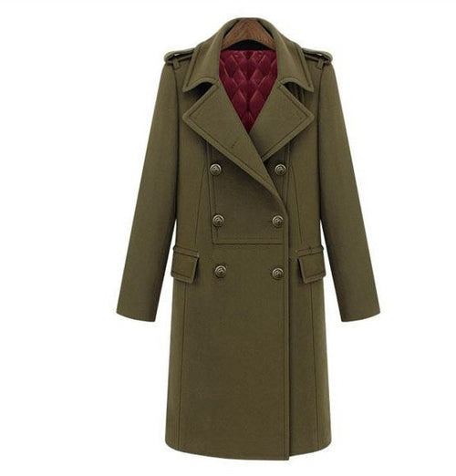 Military Style Double Breasted Woolen Coat - ChicPorter.Com
