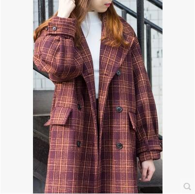 2017New Winter Women Woolen Coat Long sleeve Plaid Single Breasted Turn-down Collar Loose Fashion Women Coat High quality WUN195 - ChicPorter.Com