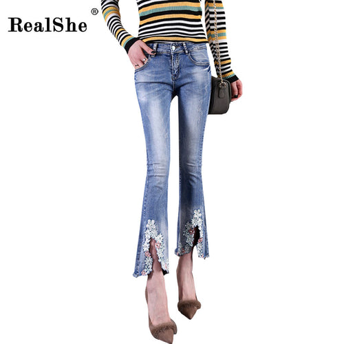 RealShe brand women flare jeans retro style zipper bottom skinny jeans deep blue high waist embroidery wide leg denim pants - ChicPorter.Com