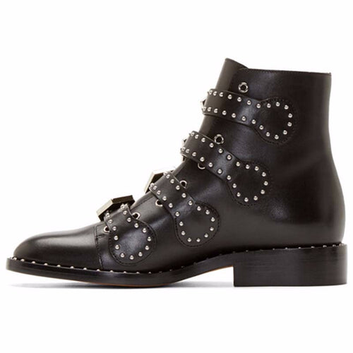 Genuine Leather Studded Ankle Boots - ChicPorter.Com