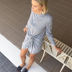 Knotted Casual Shirt Dress