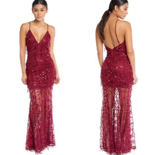 Burgundy Sequin Gown