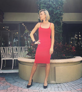 Red stretchy coctail dress with straps