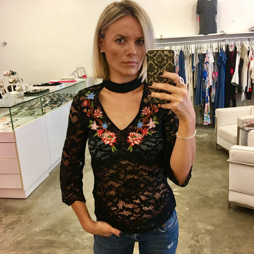 Embroidered Lace Choker Blouse