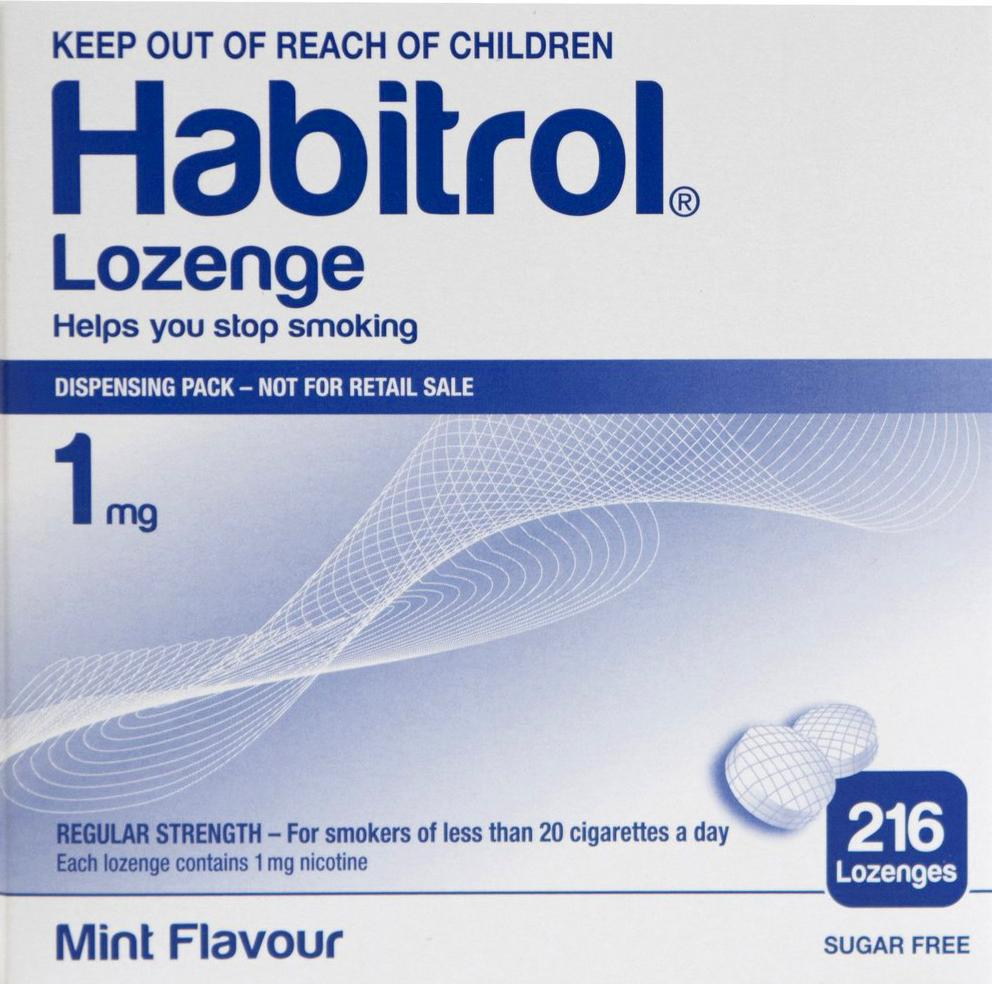 Habitrol Lozenges Bulk 1mg Mint Flavour 216 Pieces to Quit Smoking