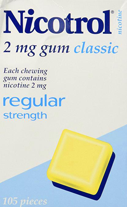 Nicotrol Gum 2mg Classic 105 Pieces Regular Strength to Quit Smoking