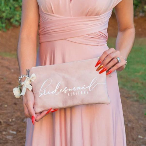 Bridal Party Clutch | Dusty Rose Vegan Suede