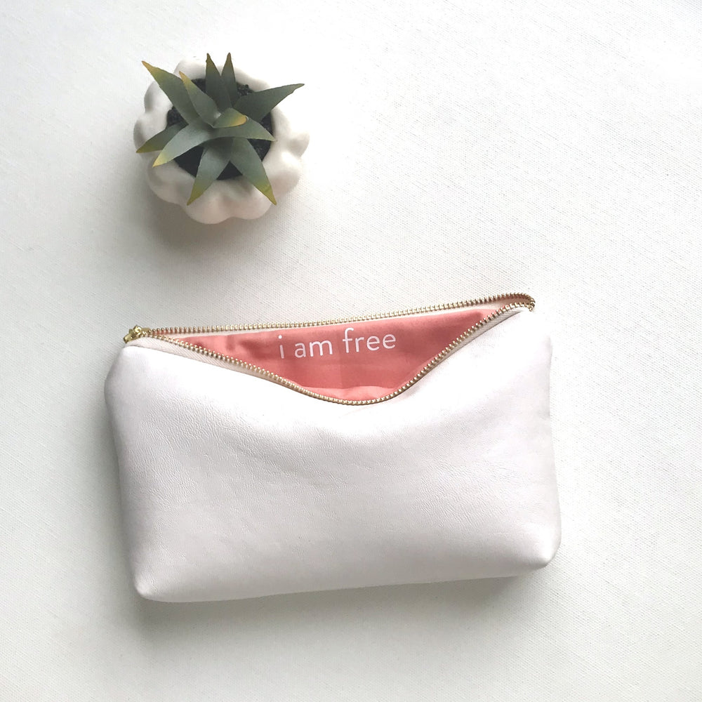 White Vegan Leather Pouch with Secret Message