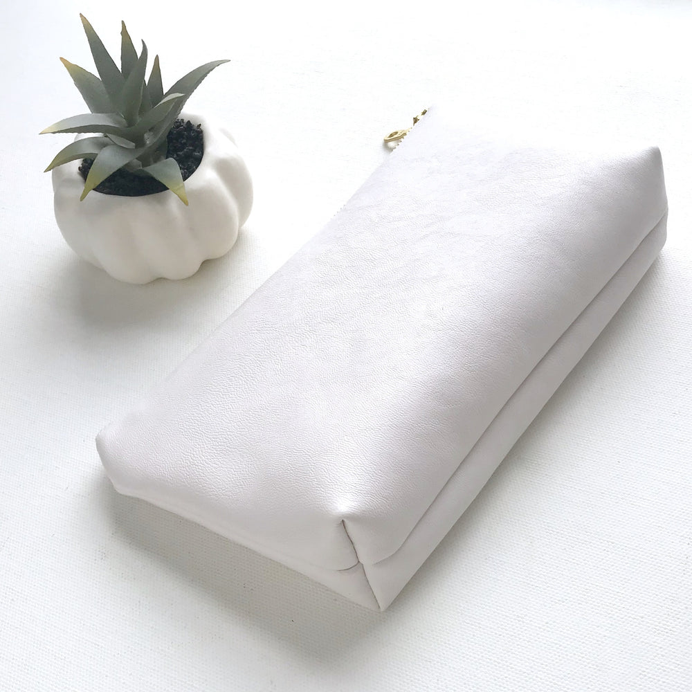 White Vegan Leather Pouch