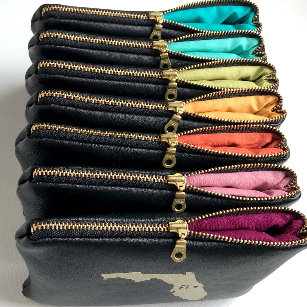 Rainbow Brass Metal Zip Bag