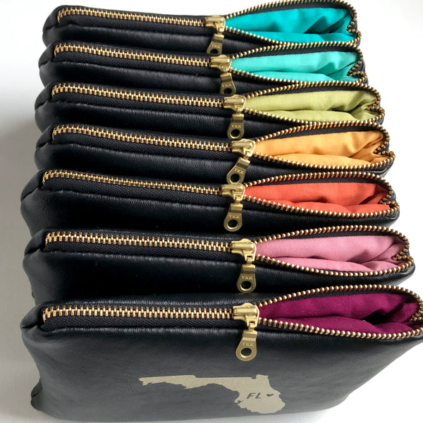 Brass Metal Zipper Clutch Bag