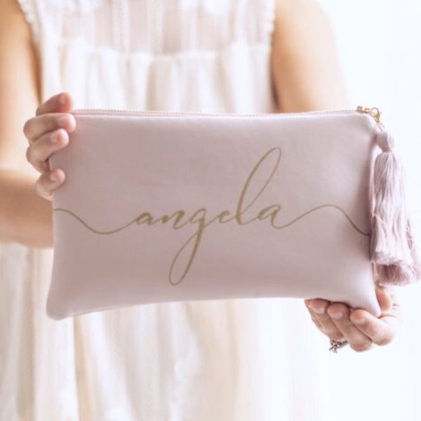 Personalized Name Rose Leather Clutch Bag