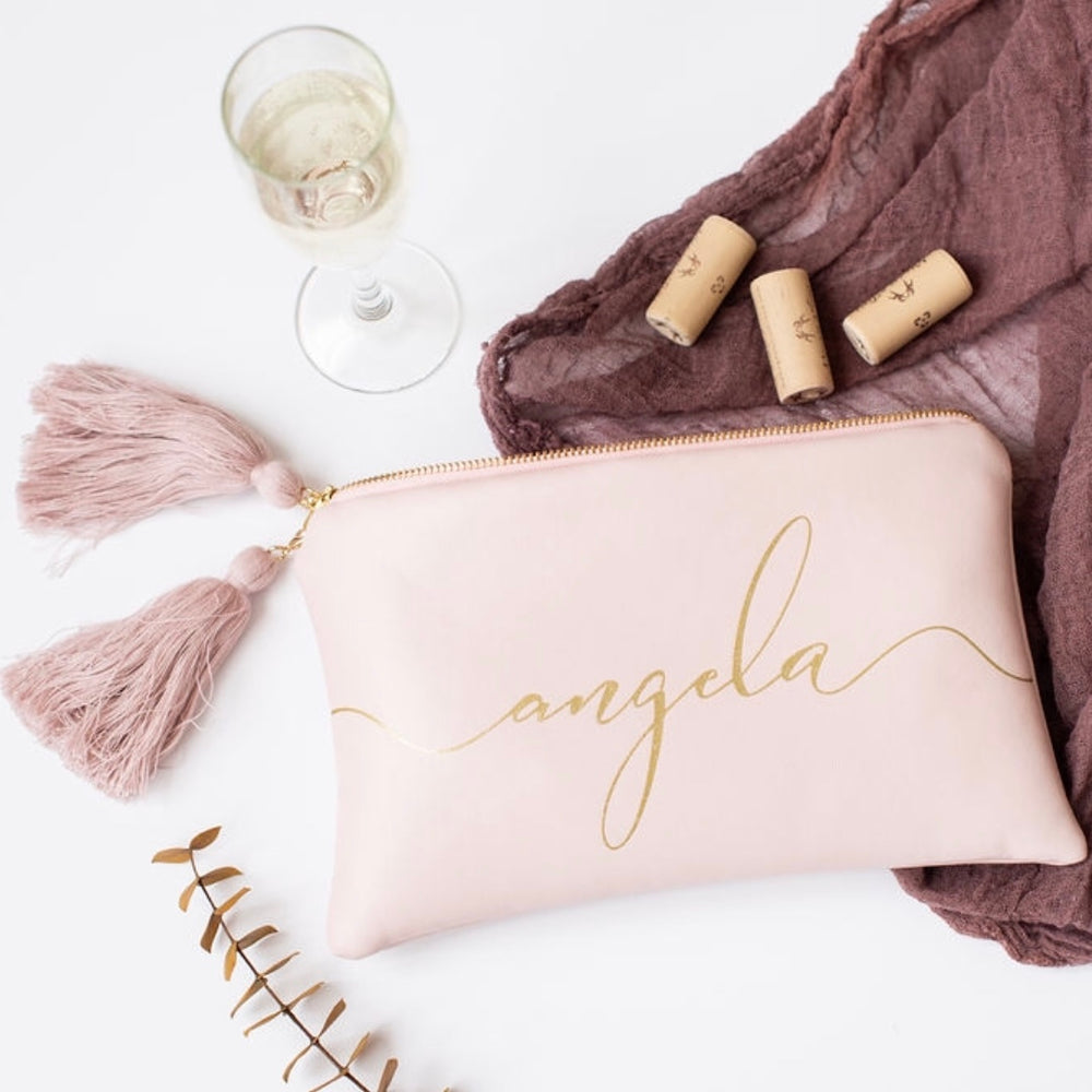 Personalized Rose Leather Name Clutch with gold shimmer detailing
