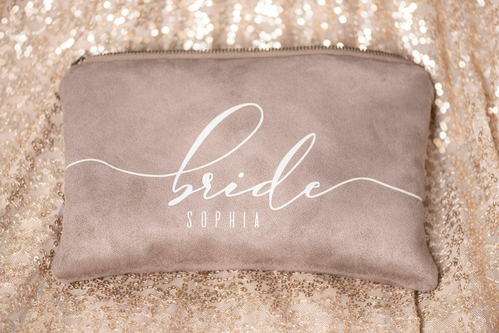 Personalized Taupe Bridal Clutch