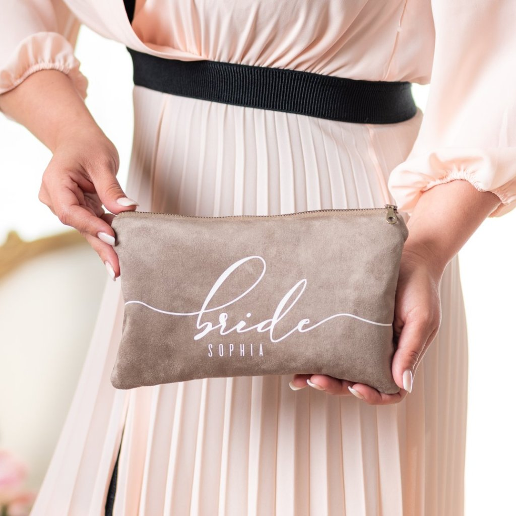 soft taupe vegan suede clutch bag