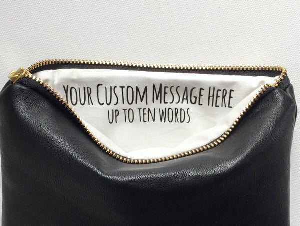 Special Custom Message Black Leather Bag