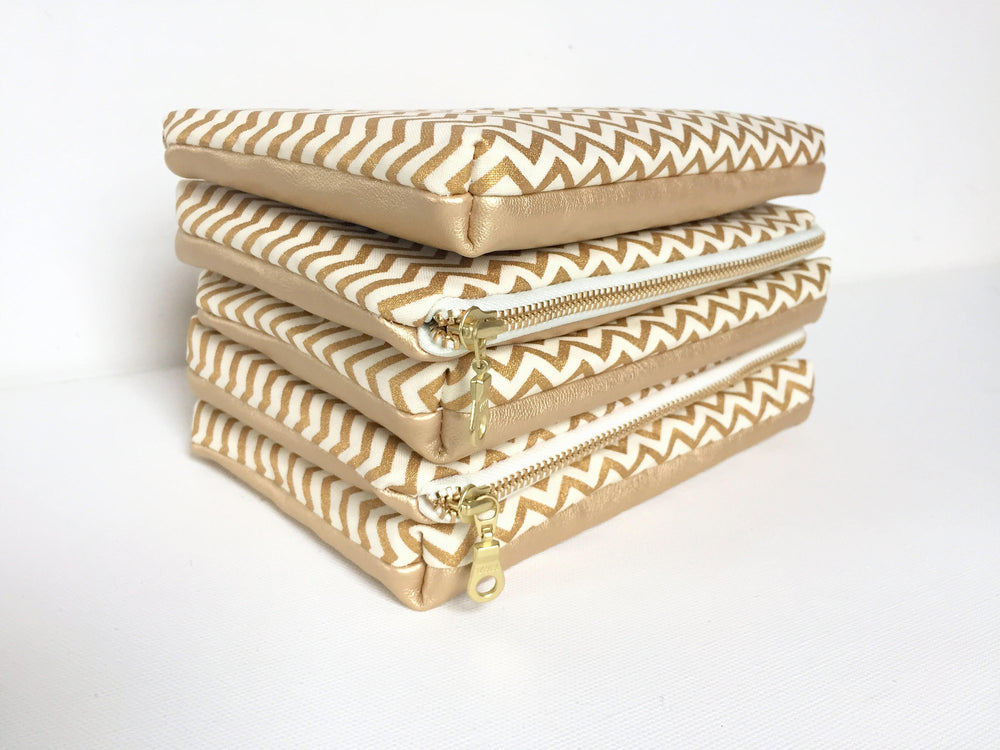 Bright Gold Leather Makeup Bag