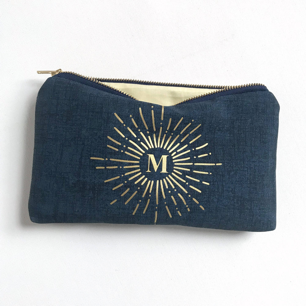 Gold Letter Sunburst Navy Blue Crosshatch