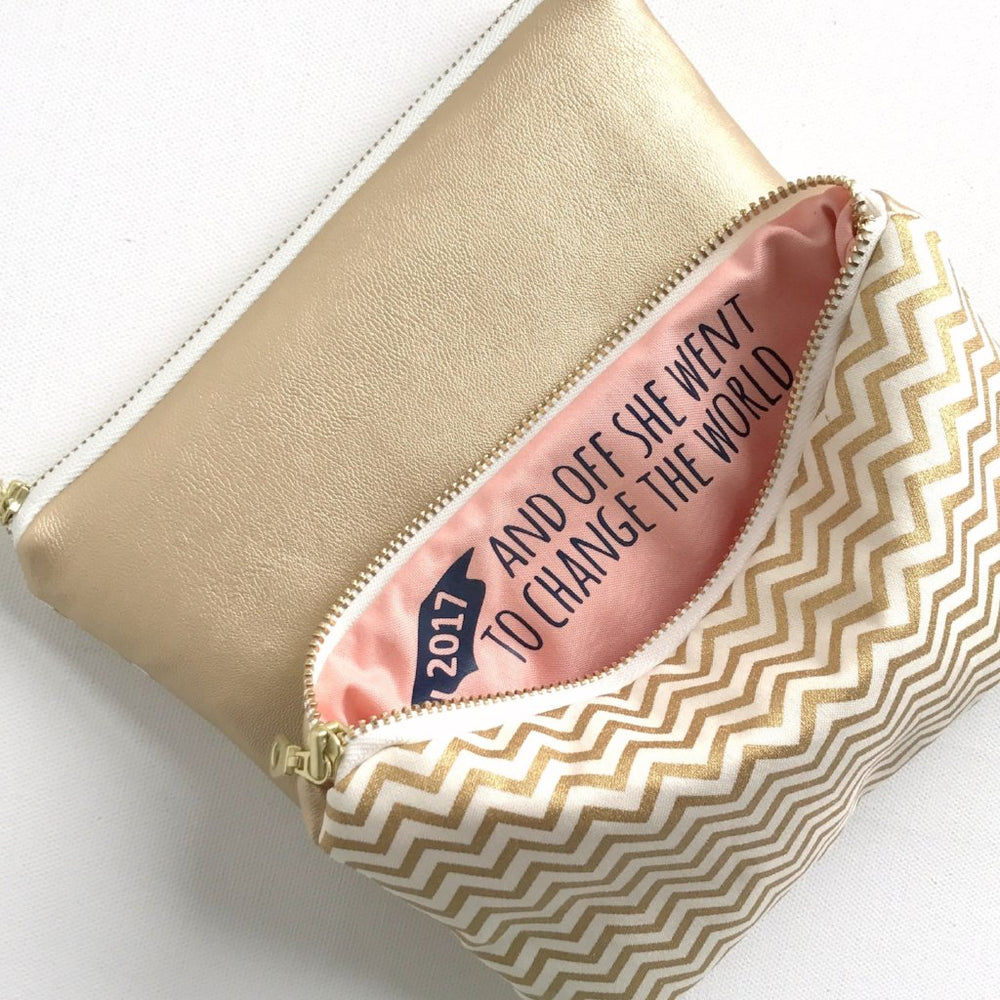 gold Makeup Bag with Hidden Message