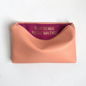 Personalized Coral Vinyl Makeup Bag