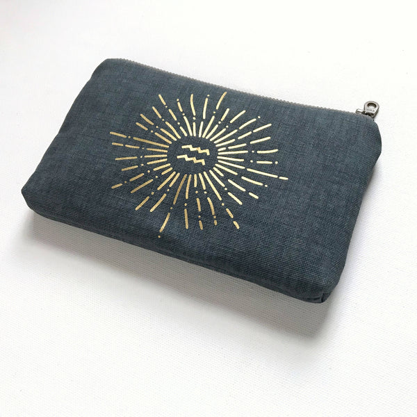 Gold Sunburst with letter personalization canvas bag