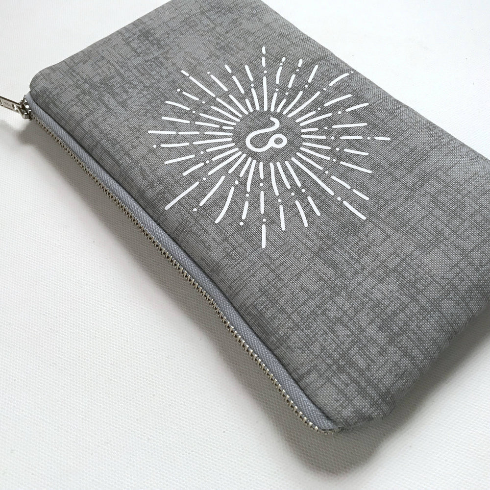 Double Canvas Zipper Zodiac Grey Bag