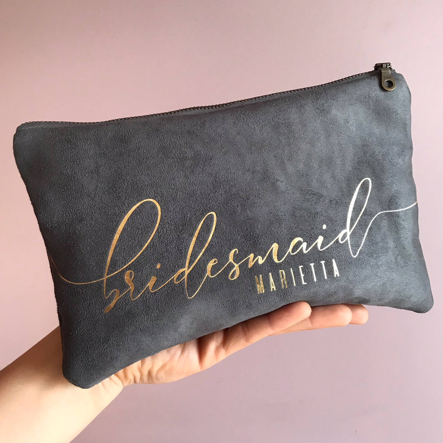 Personalized Grey Bridal Clutch Bag