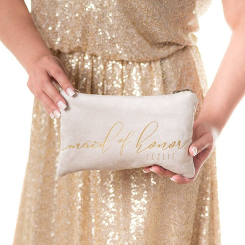 Bridal Party Clutch | Ivory Vegan Suede