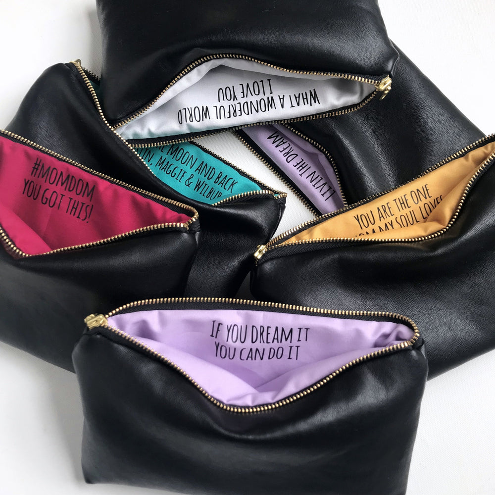 Personalized Black Leather Makeup Bag