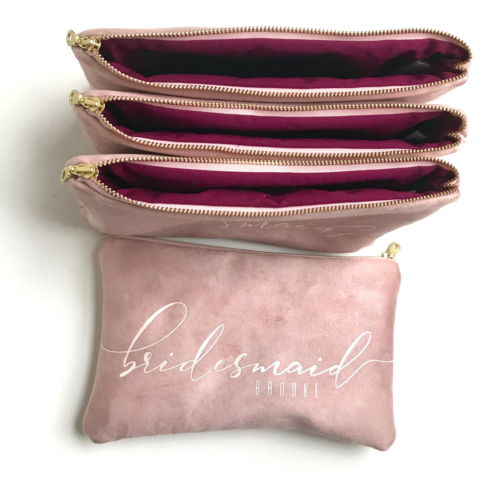 Personalized Rose Bridesmaid Clutch Bag