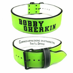 custom-leather-weightlifting-belt-green-white-text-lever